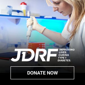 JDRF logo, click to donate vehicle